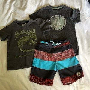 Boys 4t Volcom and Quiksilver tees & board shorts